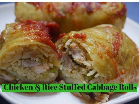 Chicken & Vegetable Stuffed Cabbage Rolls (Healthy one pot  Meals)