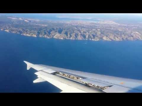Air France A320 approach, landing and taxi at Marseille Provence