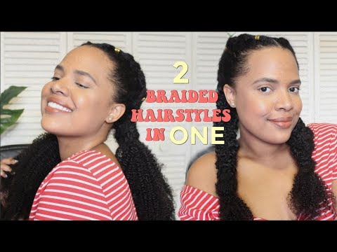 Two Jumbo Dutch Braids/Cornrows With Curly Ends | ModernFro Clip-in Extensions