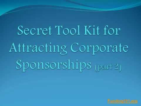 Non-Profits Get Your Corporate Sponsorship Tool Kit (part 2) Today!
