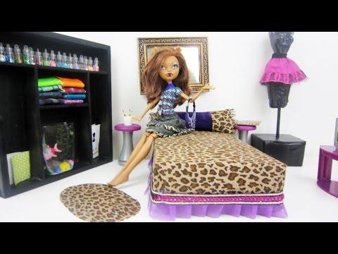 Monster High Tutorial: Clawdeen Wolf Doll Bed - Recycling - Doll Crafts - simplekidscrafts