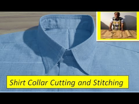 DIY How to Shirt Collar Cut and Stitching -How to sew Collar - How to saw A  shirt collar