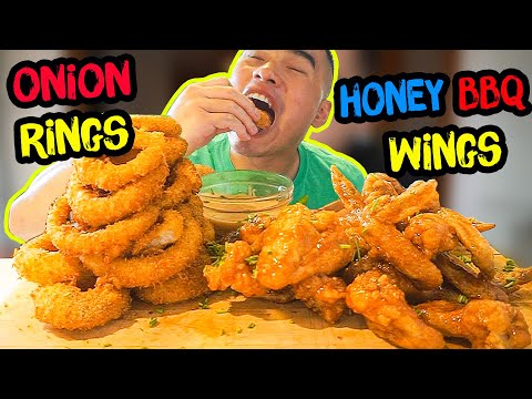 How to make ONION RINGS & HONEY BBQ WINGS | RECIPE | MUKBANG | QT