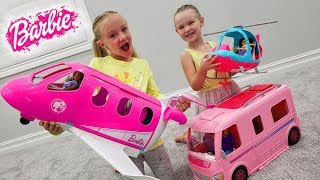 Madison Opens Barbie Dream Plane, Camper and Helicopter with Trinity!