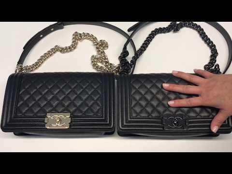 Chanel Chevron vs. Caviar Boy Bag Comparisons. WARNING: The manhandling of the bag may horrify you.