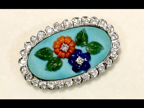 0.55 ct Diamond, Malachite, Coral and Jade Brooch - Vintage Circa 1960 - W8782