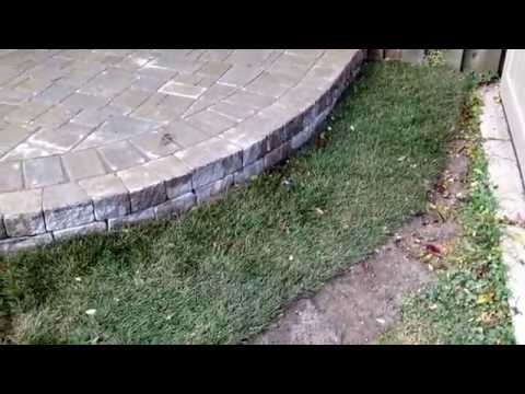 London Landscape Inc - Raised patio, sitting wall and stone steps.