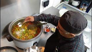 """Sabzi Bhuna"" Indian Restaurant Recipe (a dry Vegetarian Curry) at Tifin Box, Harrow Place, London."