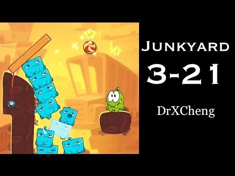 Cut the Rope 2 Walkthrough - Junkyard 3-21 - 3 Stars + Medal [HD]