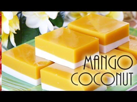 Mango Coconut Agar Agar Dessert-(RECIPE)ココナツ・マンゴーゼリーは美味しかった!