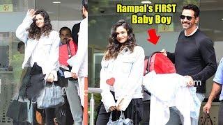 See Arjun Rampal's CUTE Baby Boy's F!RST Visuals Outside Hospital Wid Girlfriend Gabriella Demet.