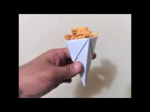 origami popcorn cone - origami for beginners