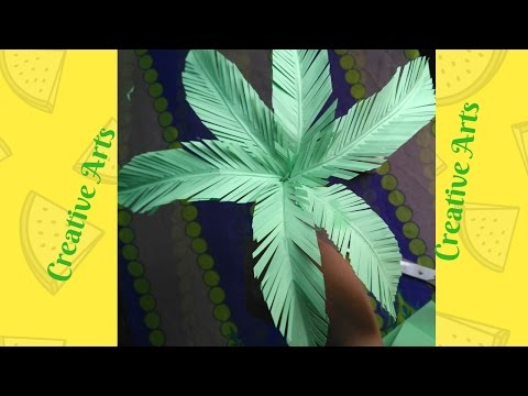 Coconut tree making with paper creativity