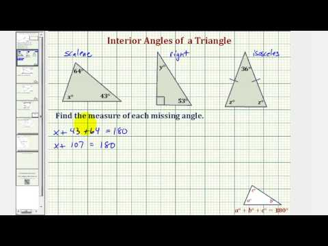 Ex: Find the Measure of an Interior Angle of a Triangle