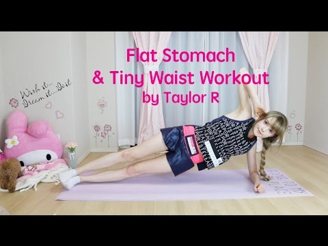 Flat Stomach & Tiny Waist Workout by Taylor R お腹やせ&くびれ作りトレーニング
