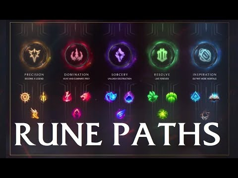 LOL NEW RUNES 2018 -  Rune Paths to Victory: Precision Domination Sorcery Resolve Inspiration