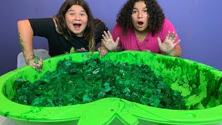 Making a Giant Pool of DIY Green Apple Jelly Cube Slime