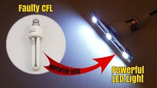 How to Make a  Bright LED Light from Scrap CFL Bulb - Homemade   DIY