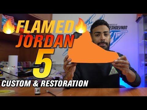 Flamed Air Jordan 5 Restoration and Customization
