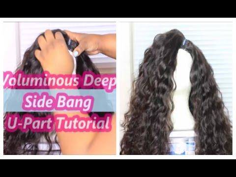 Volumious Deep Side Bang U-Part Wig Tutorial