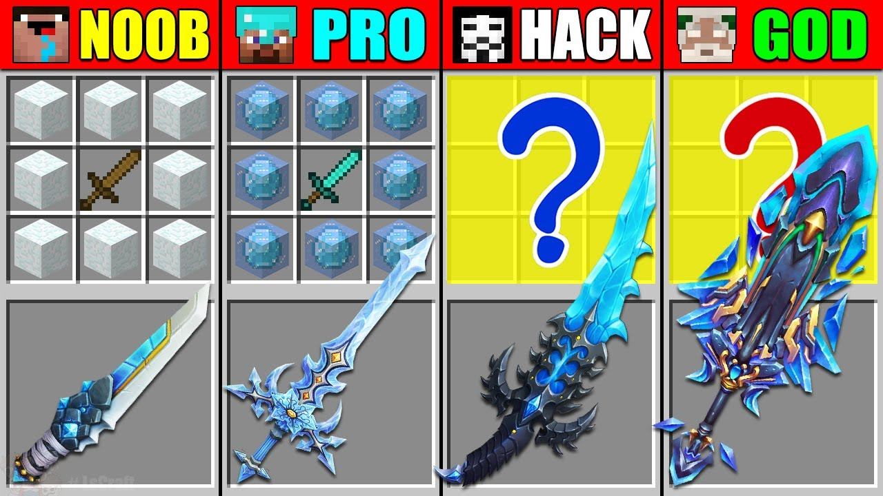 Minecraft NOOB vs PRO vs HACKER vs GOD SNOW FROZEN SWORD CRAFTING CHALLENGE in Minecraft Animation