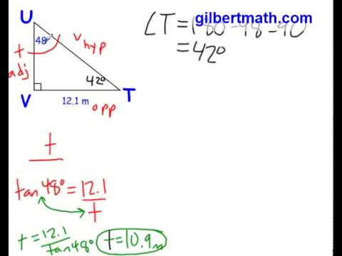 Trigonometry - Solving a Right Triangle Given a Side and an Angle