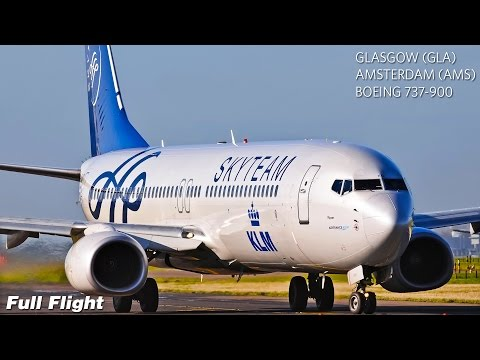 KLM Full Flight | Glasgow to Amsterdam | Boeing 737-900 (with ATC)