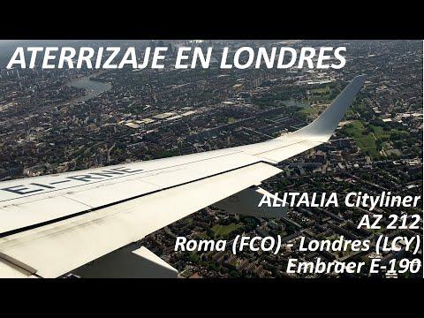 Alitalia Cityliner AZ 212 landing in London City Airport
