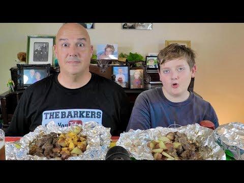 Garlic Butter Steak and Potato Foil Packet Mukbang  | The Barkers