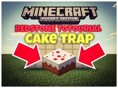 EXPLODING CAKE TRAP TUTORIAL | Minecraft PE Redstone Contraption