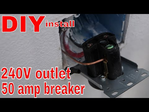 DIY 240 Volt Outlet/50 Amp Breaker in my Home Workshop- Easiest Install ever!