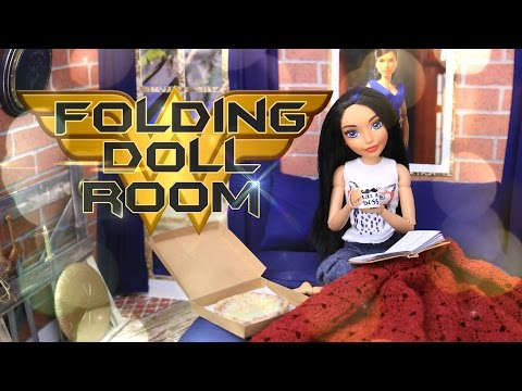 DIY - How to Make: Folding Doll Bedroom | Wonder Woman PLUS Weapons Rack and Secret Office