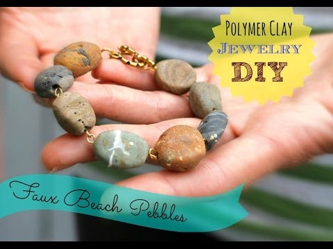 DIY, Faux Stone Jewelry from polymer clay inspired by Earth Day!