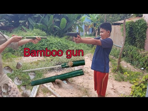 How to Make a Bamboo Gun that shoots using Tissue Paper (Kamplok) I Khmer Traditional for childs