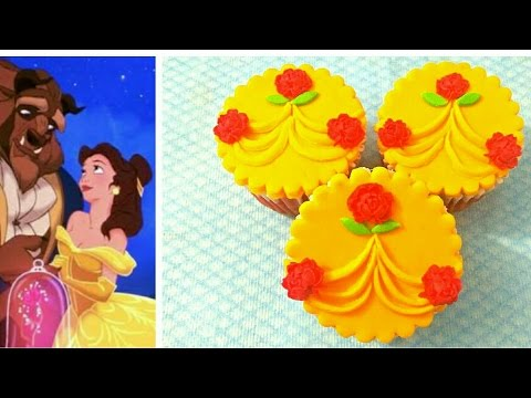Disney Princess Belle inspired Cupcakes. How to make BEAUTY AND THE BEAST theme Fondant Cupcake.