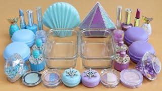 """Aqua VS Purple""Mixing Eyeshadow and Makeup,parts,glitter Into Slime!Satisfying Slime Video!★ASMR★"
