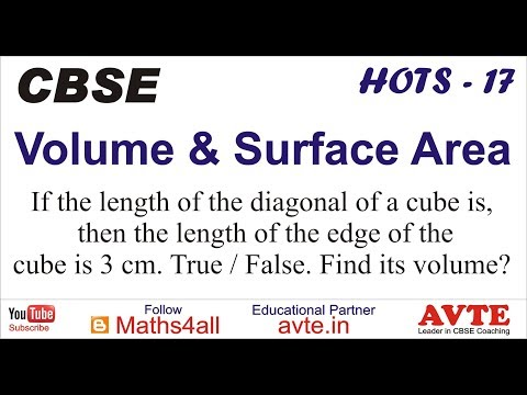 If the length of the diagonal of a cube is 6root3, then length of edge is 3cm | TRUE/FALSE || VSA 17