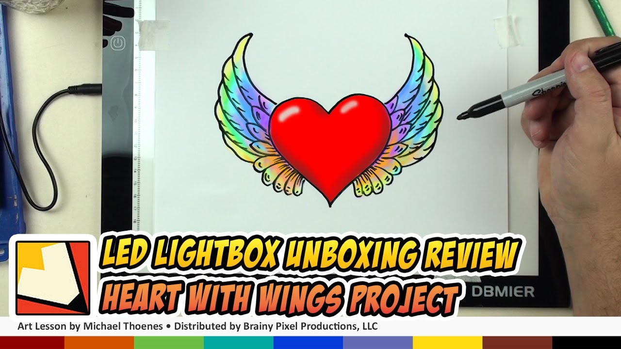 LED Lightbox Unboxing - Drawing a Heart with Wings Using Dbmeir A4 Lightbox | BP