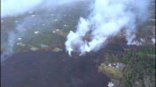 Kilauea Lava Flow Burns Hawaii- New Aerial Views
