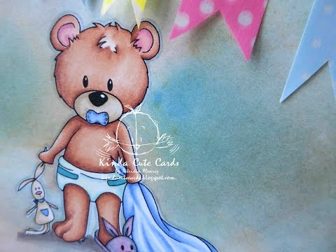 Speed coloring with markers. Baby bear by Kinda Cute Cards