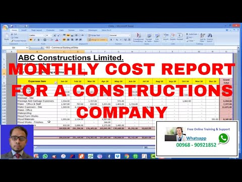 Monthly Expense report in Excel for Construction Company in hindi