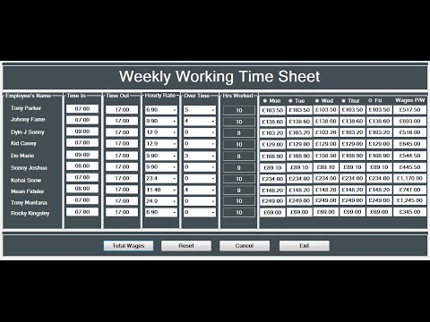 How to Create a Working Time Sheet Tutorial in Visual Basic. Net