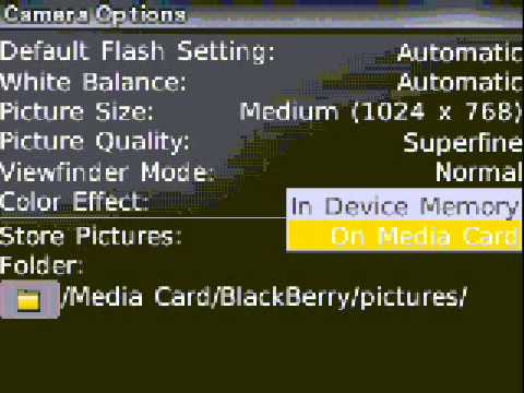 SAVE TO PICS TO MEMORY CARD BLACKBERRY CURVE