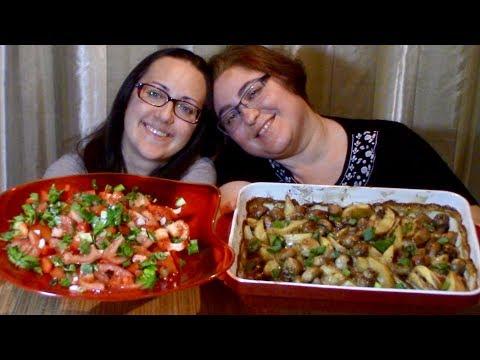 Potato Mushroom Bake + Recipe And Salad | Gay Family Mukbang (먹방) - Eating Show