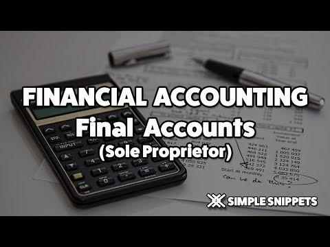 Final Accounts for Sole Proprietor