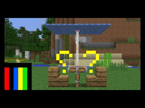 Minecraft : how to make umbrella on table with chairs..!!