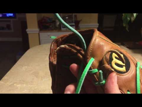 how to relace a baseball glove heel part 4