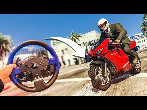 STEERING WHEEL WITH A MOTORBIKE?! - (GTA 5 Drifting & Stunts)