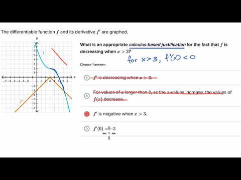 Justification using first derivative | AP Calculus AB | Khan Academy