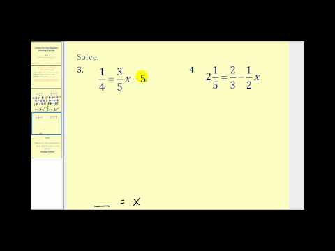 Solving Two Step Equations Involving Fractions